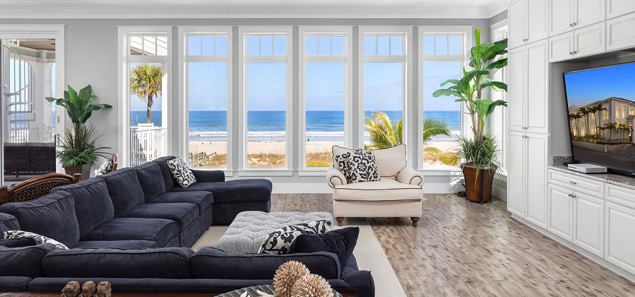 Living room of large home on the beach