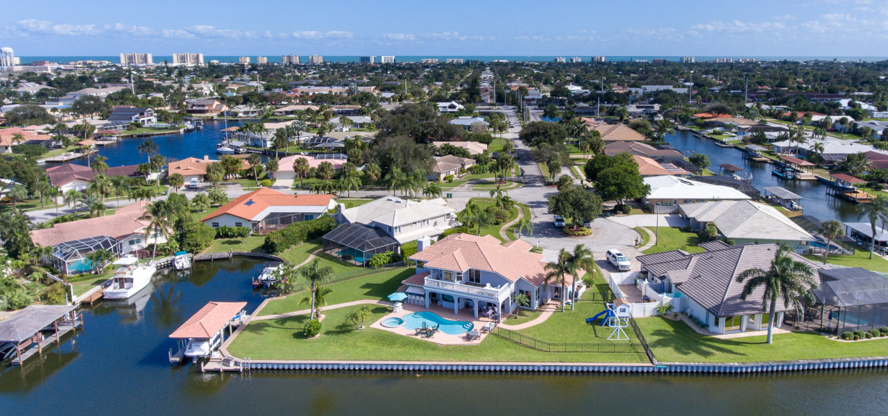 Arial View of Luxury Home on Canal in Brevard County